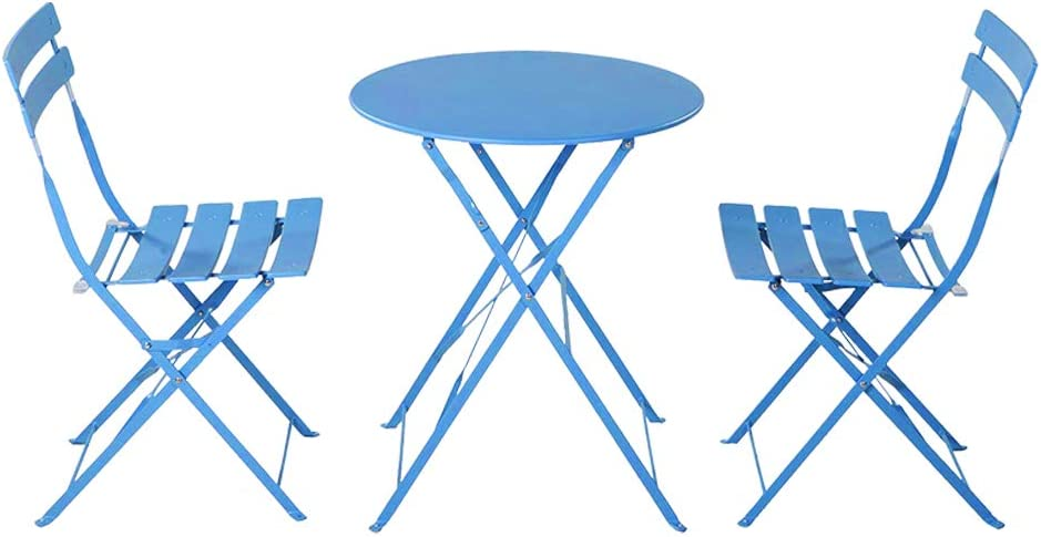 VINGLI Steel Patio Bistro Set, 3 Piece Folding Outdoor Patio Furniture Sets, Folding Patio Round Table and Chairs(Blue)