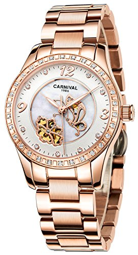 CARNIVAL Women's Automatic Mechanical Watch Inlay Rhinestones Mother of Pearl Dial Chic Butterfly Flower (Rose Gold White)
