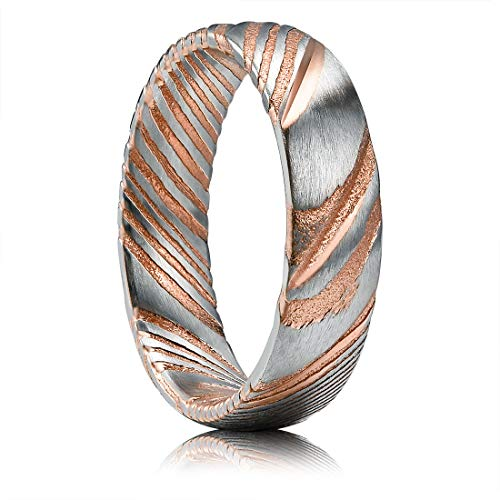 THREE KEYS JEWELRY 6mm Damascus Steel Mens Wedding Ring Domed Grooved Wood Grain Bold Hand Forged Damascus Steel Wedding Band Engagement Ring Silver Rose Gold Size - Silver Rose Large