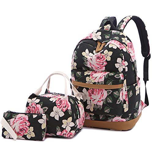 Womens Box School (Sqoto School Backpack, Teen Girls Canvas College Bookbag with Lunch Bag Pencil Case Laptop Bag Travel Daypack)