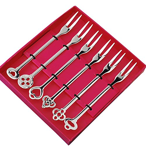 Stainless Steel Fruit Forks Tasting Appetizer Forks Cocktail Forks for Salad Cake Fruit-6 Piece