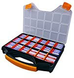#3: Massca Battery Storage Box organizer Stores AAA, AA, and C size. Hinged box made of durable plastic in a slim design with 18 compartments.