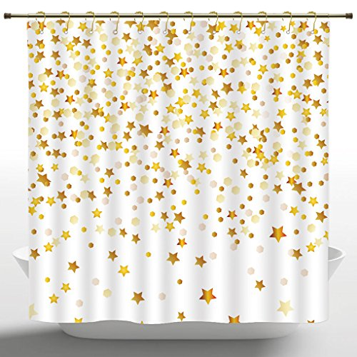 Fabric Shower Curtain by iPrint,Abstract Decor,Bunch of Shiny Stars Backdrop Inspirational Lucky Lifestyle Textured Design,Gold Yellow,Bath Curtain Design (72