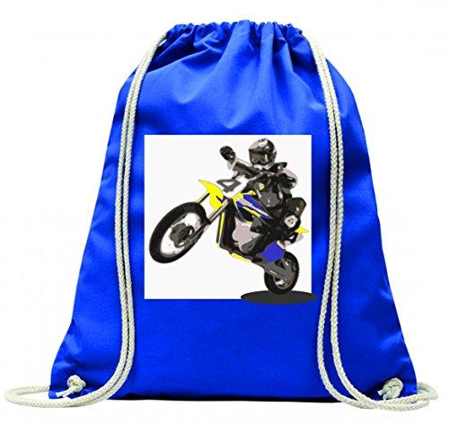 Turnbeutel ENDURO- MOTORRAD- FAHRRAD- FAHRER- BIKER mit Kordel - 100% Baumwolle- Gymbag- Rucksack- Sportbeutel Blau