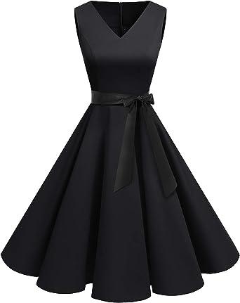 Bridesmay Robe Femme Vintage /à Audrey Hepburn Classique Ann/ées 50 60 Robe de Soir/ée Cocktail Rockabilly Swing sans Manche