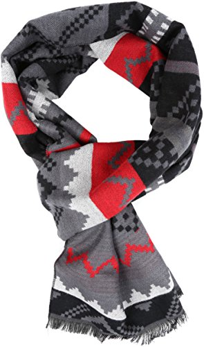 - Sakkas 16129 - Xayn Long Aztec Tribal Warm Patterned UniSex Cashmere Feel Scarf - Red - OS