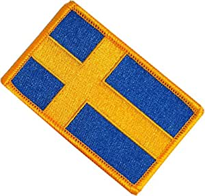 """[Single Count] Custom, Cool & Awesome {2.15"""" x 3.4"""" Inches} Small Rectangle Swedish Kingdom of Sweden Flag Scandinavian Cross Stripe Tactical Emblem Design (Military Type) Velcro Patch """"Gold & Blue"""""""