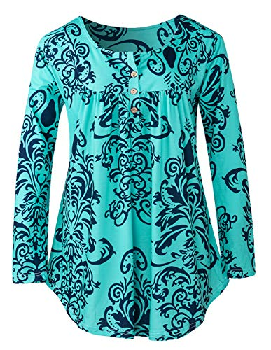 (Women Boho Tops Printing Damask Casual Long Sleeve V Neck Button Up Loose Fit Blouse Shirt)