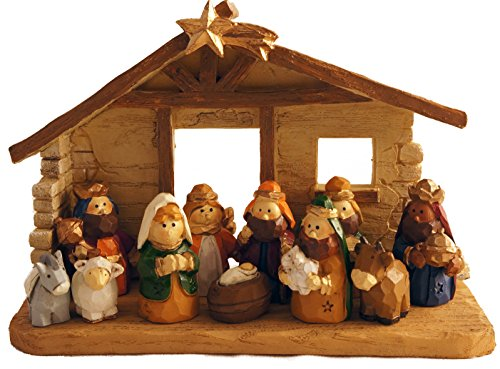 Miniature Kids Christmas Nativity Scene with Creche, Set of 12 Rearrangeable Figures -