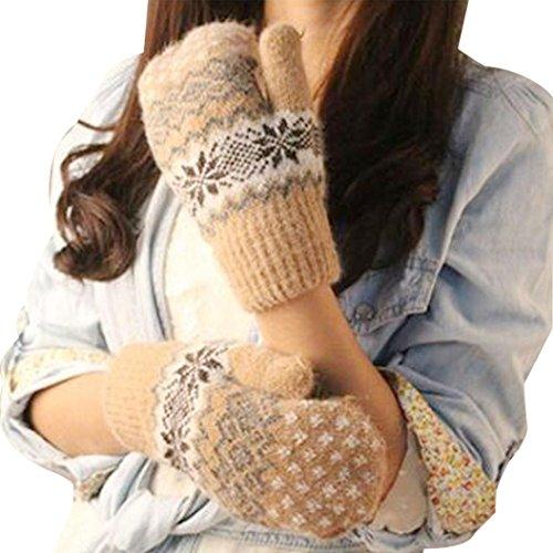 Women's Warm Winter Snow Gloves Mittens Beige - 6