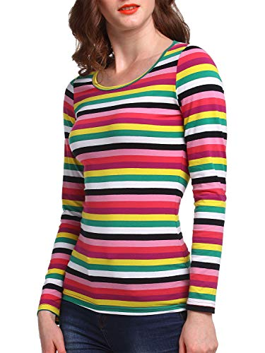 Beluring Women Rainbow Striped Shirt Colorful Blouse Dressy Long Sleeve T Shirt]()