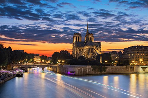 Notre Dame Cathedral Seine River Paris France at Sunset Photo Art Print Poster 18x12 inch
