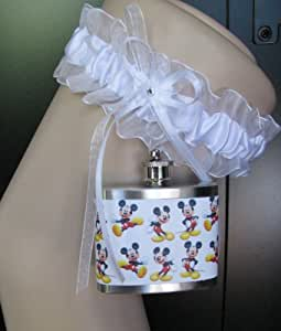 Garter Flask Lace Garter & Mickey Mouse Stainless Steel Liquor Hip Flask Bridesmaid Bride Wedding Party Gift