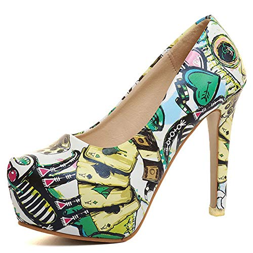 DoraTasia Platform High Heels Pumps for Women-Printed Stilettos-Party Dress Single Shoes