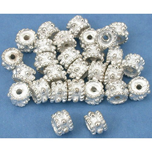 Beads Silver Plt Beading (Rope Bali Spacer Beads Silver Plt Beading 6mm Approx 25)