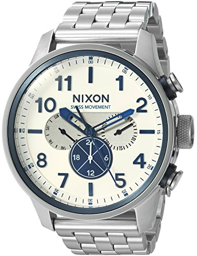 Dual Time Swiss (Nixon Men's 'Safari Dual Time' Swiss Quartz Stainless Steel Casual Watch, Color:Silver-Toned (Model: A1081130-00))