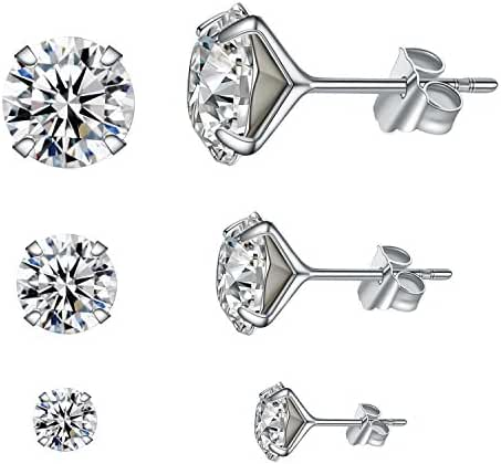 YAN & LEI Sterling Silver Ear Studs Set with Swarovski Crystal in 4, 6,8 mm