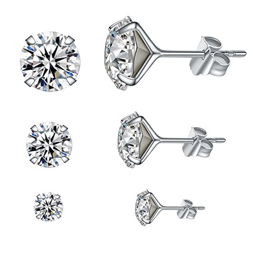Silver Sterling Ear Studs (YAN & LEI Sterling Silver Brilliant Swarovski Crystal Studs Earrings Set of 3 Pairs in 4 mm, 6mm and 8 mm)