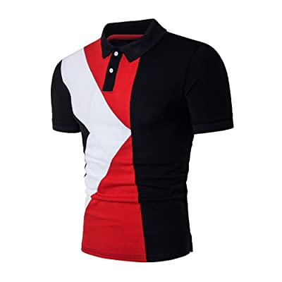 Homebaby Polo Homme Polo T-Shirt Surpiqûres Homme Homme Polo Manches Courtes Coton Polo Hommes Slim Fit VêTement Masculin (XL, Noir)