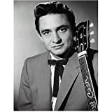 johnny cash guitar pic - Johnny Cash Photo 8 inch x 10 inch PHOTOGRAPH B&W Pic Bow Tie Holding Guitar Next to Him kn
