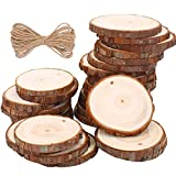 Wood Slices TICOSH Natural Wood Slices 6-7 cm 30 PCS Drilled Hole Unfinished Log Wooden Circles for DIY Crafts Wedding Decorations Christmas Ornaments with Free Gifts