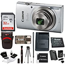 Canon PowerShot ELPH 180 20 MP Digital Camera (Silver) w/32GB Accessory Bundle