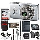 Canon PowerShot ELPH 180 20 MP Digital Camera (Silver) + Sony 32GB Memory