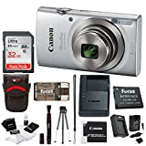 Canon PowerShot ELPH 180 20 MP Digital Camera (Silver) + Sony 32GB Memory