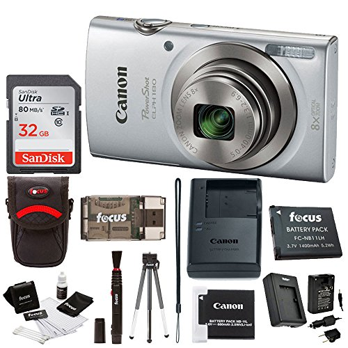 Canon PowerShot ELPH 180 20 MP Digital Camera (Silver) w/ 32GB Accessory Bundle (Best 10x Zoom Compact Digital Cameras)