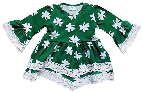 So Sydney Toddler Girls Boho Ruffle Crochet Lace Trim Flare Sleeve Dress (XS (2T), Lucky Green Shamrock) -