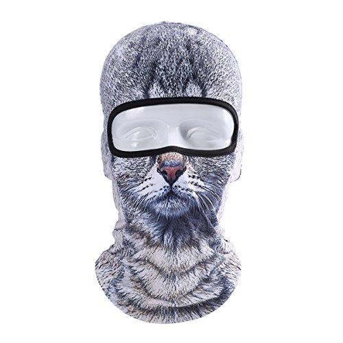 Koolip Cat Balaclava,Dog Balaclava,Halloween Hat,Cute Full Face Hood Mask Animal Ski Mask for Hiking Riding Sports Outddor (BB-B-09) ()