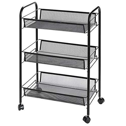 3-Shelf Shelving Storage Unit on Wheels, Metal Organizer Wire Rack (Black) by Blewry
