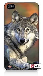 White Grey Brown Wild Wolf - He's Devious iphone 6 4.7 Quality Hard Snap On Case for iphone 6 4.7 G T Sprint Verizon - White Case Cover