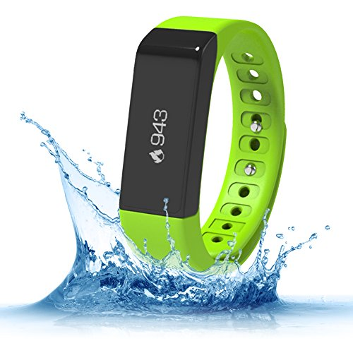 Fitness Trackers,Teslasz I5 plus IP65 Water-resistant Pedometer Bluetooth 4.0 Sleep Monitor Activity Tracker for Android and IOS Smart Phone (Green)