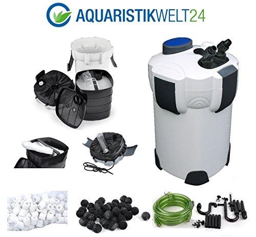 Aquaristikwelt24 Aquarium Außenfilter Filter 1000 L/h bis 400l Becken + KOSTENLOSES Filtermaterial: Filterwatte, 40 BioBalls und 120 Keramik Ringe!