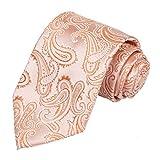 KissTies Mens Peach Tie Holiday Necktie Paisley Ties + Gift Box