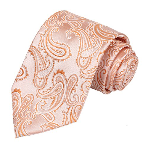 KissTies Orange Tie Paisley Necktie Wedding Ties + Gift Box (Dress Tie Tangerine)