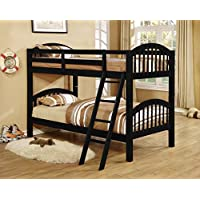 Kings Brand Furniture Twin over Twin Wood Bunk Bed with Ladder (Black)