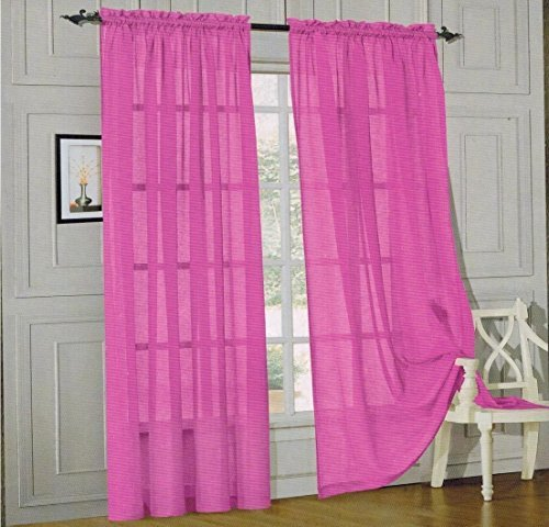 Elegant Comfort 2 Piece Solid Sheer Panel with Rod Pocket - Window Curtain 60-inch Width X 84-inch Length - Hot Pink