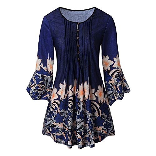 DAYPLAY Womens Tops 3/4 Sleeve Button Up Pleated Shirt Retro Loose Tunic Pullover Summer 2019 Blouses for Ladies Clothes Sale Blue