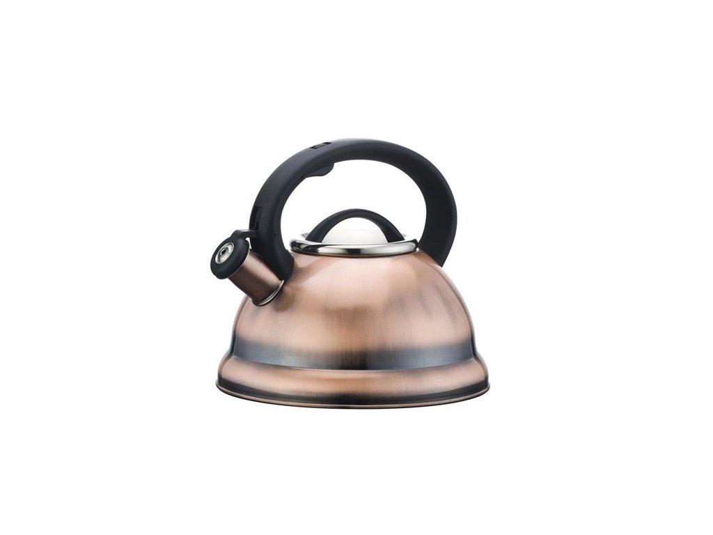 Home N Kitchenware Collection 2.8 (3 Quart) Liter Stainless Steel Whistling TeaKettle Teapot, Bakelite handle, Encapsulated Base 18/10 Stainless Steel Whistling Tea Kettle Pot, Copper Finish
