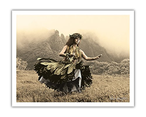 (Pacifica Island Art Swaying Skirt - Hawaiian Hula Dancer in Ti Leaf Skirt - From an Original Hand Colored Photograph by Alan Houghton - Hawaiian Fine Art Print - 11in x 14in)