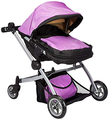 Babyboo Luxury Leather Look Twin Doll Pram/Stroller with Free Carriage (Multi Function View All Photos) - 9651A Purple Leather ()