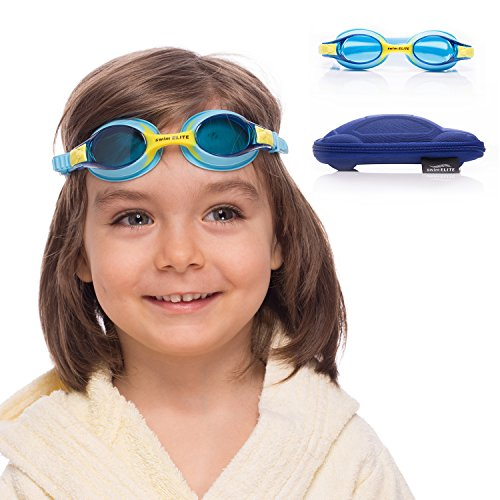 Kids Swim Goggles || Swimming Goggles for Kids (Age 2-8 years old) with Fun Car Hardcase for Easy Transportation || Cushioned Frames || Anti Fog Lenses || UV Protection - Best Pool Goggles Swimming