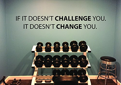 - Gym Wall Decal, Motivational Quote, IF IT DOESN'T CHALLENGE YOU. IT DOESN'T CHANGE YOU.