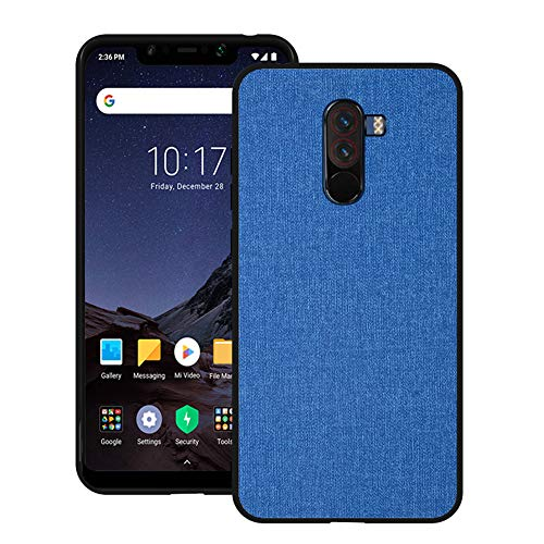 - Xiaomi Pocophone F1 Case CJ Sunshine Xiaomi Pocophone F1 Mobile Phone Shell with Fabric Back Cover All-Inclusive Shatter-Resistant Hard Shell Silicone Soft Edge Case(Blue)
