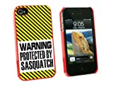 Graphics and More Warning Protected By Sasquatch - Snap On Hard Protective Case for Apple iPhone 4 4S - Red - Carrying Case - Non-Retail Packaging - Red