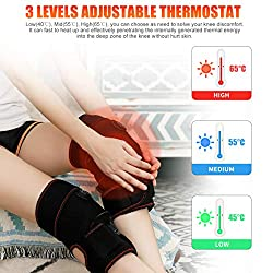 2 PCS Heated Knee Massager 7.4V 6000mAh Rechargeable Battery Knee Wraps Electric Heated Knee Braces 3 Adjustable Temperature Vibration Massage Knee Physiotherapy Massager for Pain Relief Arthritis