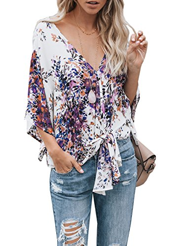 Gemijack Womens Floral Blouses Chiffon Summer Short Sleeve Deep V Neck Tie Front Tops Shirts