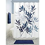 InterDesign 35606 Leaves Fabric Shower Curtain - Standard, 72'' x 72'', Navy/Slate Blue
